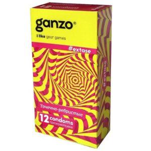Презервативы Ganzo Extase №12 с точками ребристые 12 шт